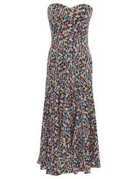 Strapless Floral Print Stretch Silk Midi Dress by Veronica Beard