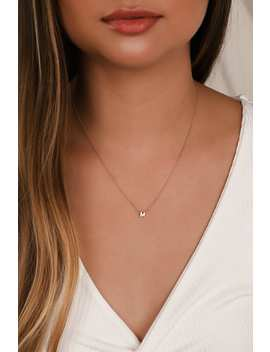 "Letter Ly In Love ""M"" Gold Initial Charm Necklace by Lulus"
