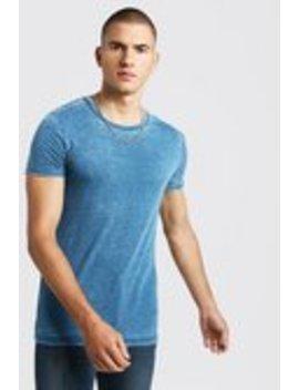 Slub T Shirt With Rolled Sleeves by Boohoo Man