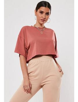 Brown Drop Shoulder Oversized Crop T Shirt by Missguided