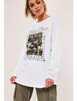 White Born To Be Wild Graphic T Shirt by Missguided