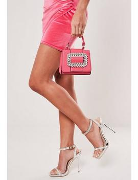 Pink Oversized Diamante Buckle Mini Bag by Missguided