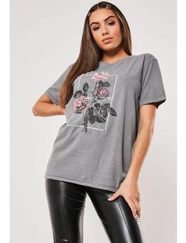 Grey Flower Vintage Wash Graphic T Shirt by Missguided