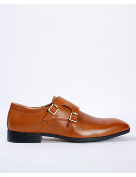 Textured Double Strap Monk Shoes by Ajio