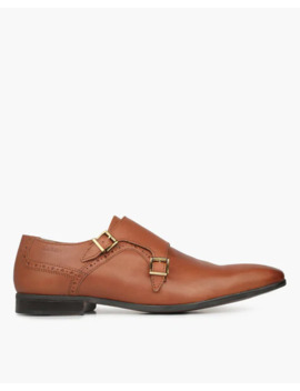 Textured Double Strap Monk Shoes by Ruosh