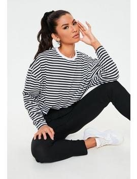 Petite Black Stripe Drop Shoulder T Shirt by Missguided