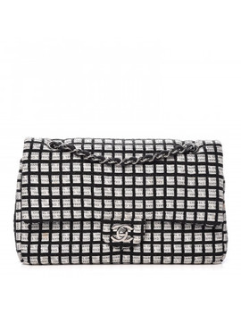 Chanel Ribbon Tweed Medium Double Flap Black White by Chanel