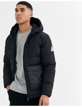 Jack &Amp; Jones Originals Hooded Puffer Jacket With Patch Pockets In Black by Jack & Jones