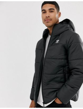 Adidas Originals Logo Padded Jacket In Black by Adidas Originals