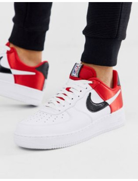 Nike Air Force 1 '07 Trainers In White/Red Bq4420 600 by Nike