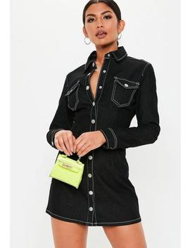 Tall Black Button Through Fitted Denim Dress by Missguided