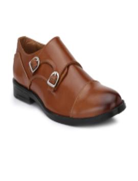 Hirel's Tan Double Monk Formal Shoes by Hi Re Ls