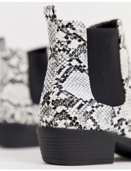 Park Lane Heeled Western Boots In Mono Snake by Asos