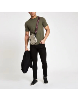 Khaki Green Slim Fit Crew Neck T Shirt by River Island