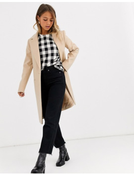 Miss Selfridge Single Breasted Tailored Coat In Camel by Miss Selfridge