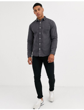 River Island Denim Shirt In Light Grey by River Island