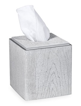 Grey Wood Tissue Box Cover by Dkny