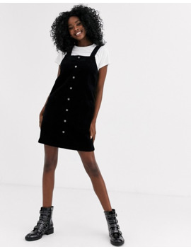 New Look Cord Button Through Mini Dress In Black by New Look