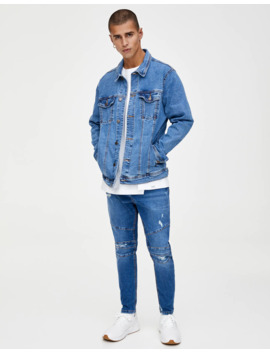 Medium Blue Comfort Denim Jacket by Pull & Bear