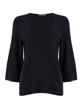 Rib Panel Crop Sleeve Jumper by Warehouse