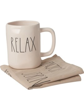 Rae Dunn Elongated Relax Mug And Tea Towel Set by Rae Dunn