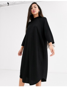 Monki Oversized Round Neck T Shirt Dress In Black by Monki