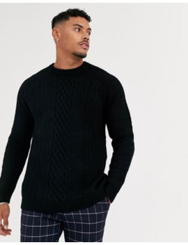 bershka-cable-knit-jumper-in-black by bershkas