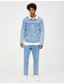 Blue Denim Jacket With Faux Shearling by Pull & Bear