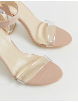 Truffle Collection Mid Clear Heeled Sandals In Beige Patent by Asos