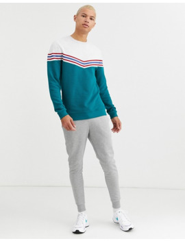 Asos Design Tall Sweatshirt With Chevron Colour Block In Ribbed Fabric by Asos Design