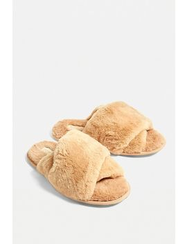 Sorel Hadley Tan Faux Fur Slider Slippers by Sorel
