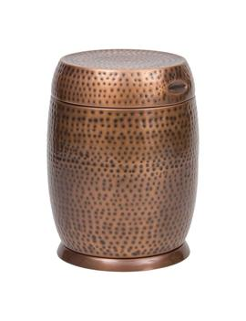 Antique Copper Madras Drum Patio Side Table by Bombay Outdoors