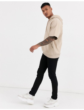 Asos Design Short Sleeve Oversized Hoodie In Beige by Asos Design