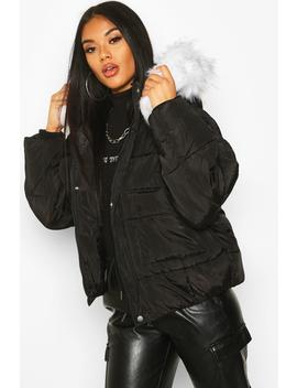 Quilted Faux Fur Hooded Puffer by Boohoo