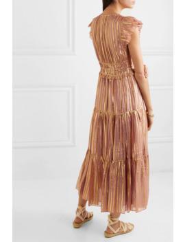 Justyne Metallic Tiered Silk And Lurex Blend Midi Dress by Ulla Johnson