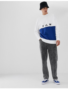 Collusion Tall Mixed Fabric Printed Sweatshirt In Blue And White by Collusion