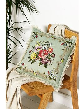Floral Cross Stich Cushion by Urban Outfitters