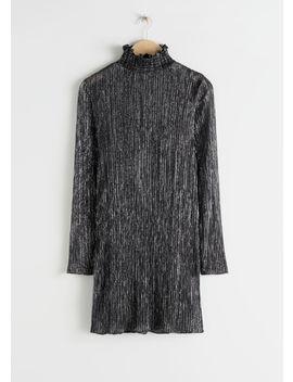 Smocked Turtleneck Mini Glitter Dress by & Other Stories