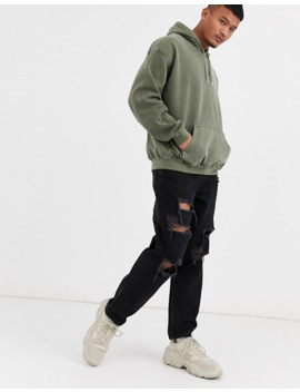 Reclaimed Vintage Inspired   Oversized Hoodie In Groen Overdye by Reclaimed Vintage Inspired
