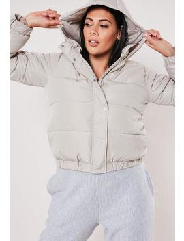 Plus Size Grey Hooded Puffer Jacket by Missguided