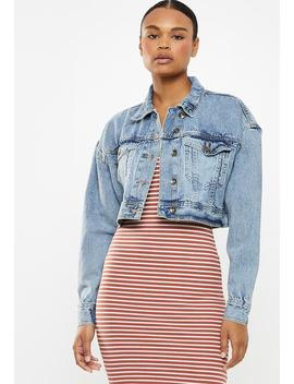 Angie Chopped Denim Jacket   Blue by Cotton On