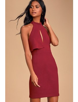 Rayleigh Burgundy Lace Halter Bodycon Mini Dress by Lulus
