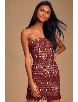 Adara Burgundy Crochet Lace Mini Dress by Lulus