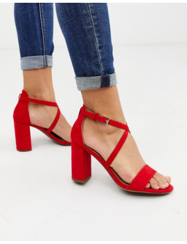 New Look Cross Strap Heeled Sandals In Red by New Look