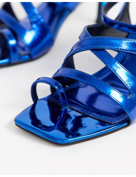 Asos Design Harley Strappy Toe Loop Mid Heeled Sandals In Blue Metallic by Asos Design
