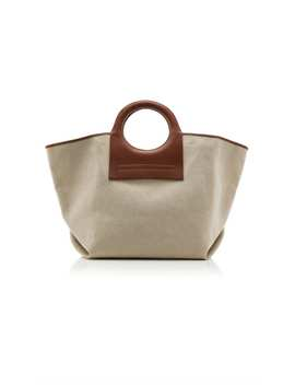 Cala Leather Trimmed Canvas Tote by Hereu