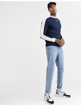 Asos Design Organic Long Sleeve T Shirt With Contrast Shoulder Panel In Navy by Asos Design