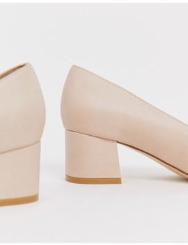 Truffle Collection Wide Fit Pointed Kitten Heel Block Heels In Beige by Asos
