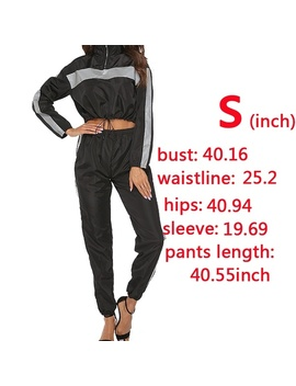 2019 Luminous Women's 2 Pieces Outfits Reflective Fashion Long Sleeve Jacket Crop Tops And High Waist Long Pants Tracksuit Jumpsuit Set Glow In Dark Black  by Wish