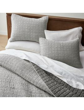 Grey Belgian Flax Linen Quilt King by Crate&Barrel